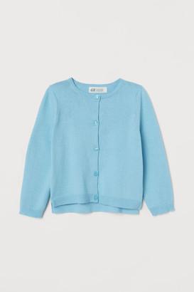 H&M Fine-knit Cotton Cardigan - Turquoise