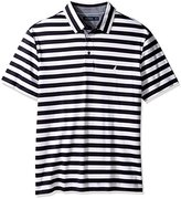 Nautica Men's Big and Tall Short Sleeve Stripe Premium Cotton Polo Shirt