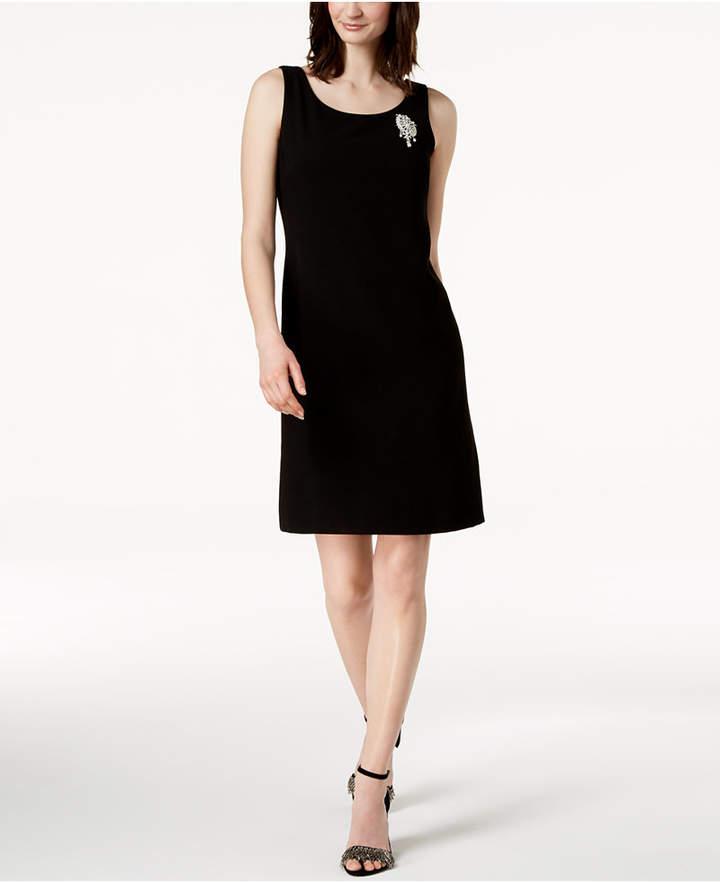 MSK Rhinestone-Brooch Sheath Dress