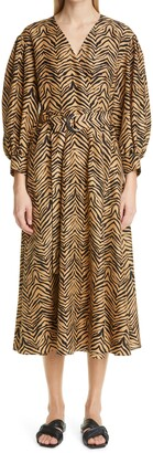Lafayette 148 New York Faye Zebra Print Silk Shantung Midi Dress