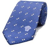 Versace Men's Medusa Logo Polka Dot Pattern Silk Neck Tie.