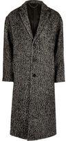 River Island Mens Grey herringbone wool blend overcoat