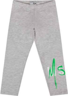 MSGM Grey Leggings For Baby Girl With Double Logo