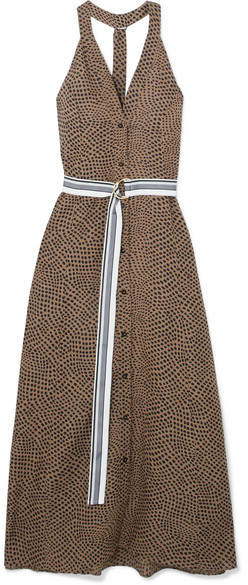 Diane von Furstenberg Belted Printed Linen Maxi Dress - Chocolate