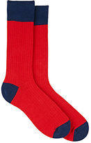 Barneys New York MEN'S COLORBLOCKED MID-CALF SOCKS-RED