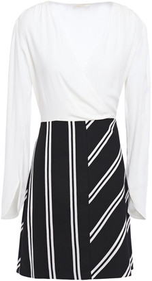 Maje Paneled Striped Twill And Crepe Mini Dress