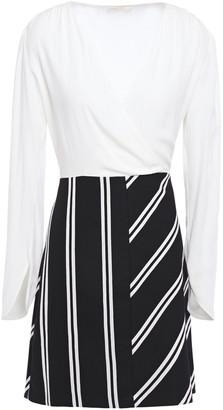 Maje Rolim Wrap-effect Crepe And Striped Twill Mini Dress
