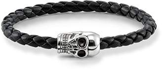 Thomas Sabo Unisex Leather Strap Skull Leather Bracelet 925 Sterling Silver, Blackened, Black Braided Nappa Leather UB0010-823-11