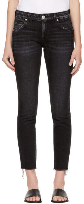 Amo Black Stix Crop Frayed Jeans