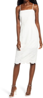 Rowa Sleeveless Embroidered Midi Dress