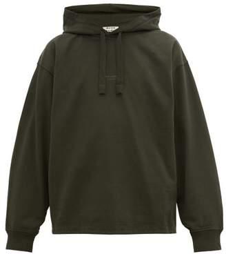 Acne Studios Fagen Logo Print Cotton Hooded Sweatshirt - Mens - Dark Green