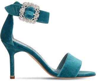 Manolo Blahnik 90mm Sanghal Embellished Velvet Sandals