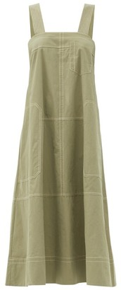 Lee Mathews May Topstitched Cotton Dress - Khaki