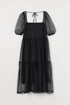 H&M Puff-sleeved Mesh Dress
