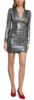 BCBGMAXAZRIA Metallic Puff-Shoulder Bodycon Dress