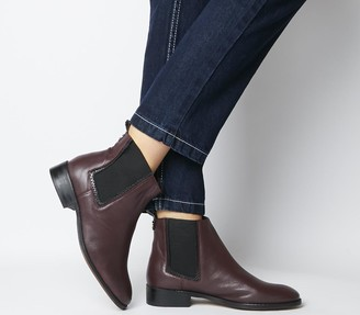 Office Acorn Feature Chelsea Ankle Boots Burgundy Leather Feature Chelsea