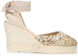 Manebi Sequin Embroidered 100mm Wedge Espadrilles
