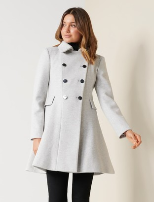 Forever New Louise Fit and Flare Coat - Grey Marle - 10