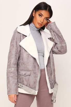 I SAW IT FIRST Grey Suede Aviator Jacket