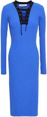 Diane von Furstenberg Lace-up Ribbed-knit Midi Dress