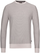 Barbour Reverse Stripe Neutral Crew Neck Sweater