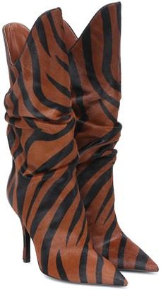 ATTICO Zebra-print calf-hair ankle boots