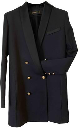 Balmain For H&m Black Wool Trench Coat for Women