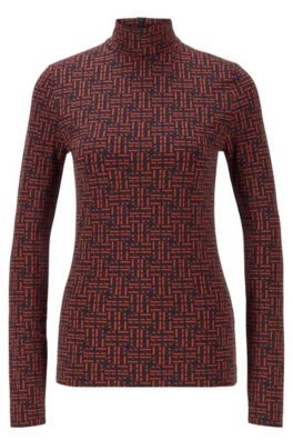 HUGO BOSS Stretch Fabric Monogram Print Top With Stand Collar - Patterned