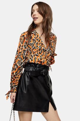 Topshop Womens Orange Animal Tie Blouse - Orange