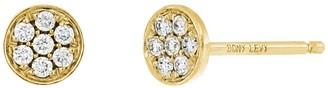 Bony Levy 18K Yellow Gold Pave Diamond Circle Stud Earrings - 0.09 ctw
