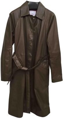 MANGO Khaki Leather Coat for Women