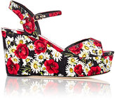 Dolce & Gabbana WOMEN'S FLORAL BROCADE PLATFORM WEDGE SANDALS