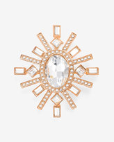 White House Black Market Rose Gold Clear Stone Starburst Brooch