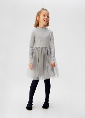 MANGO Tulle skirt short dress medium heather grey - 5 - Kids