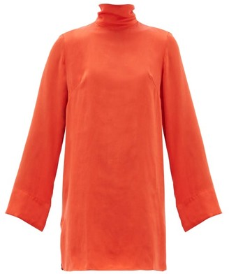 Worme - The Mini High-neck Silk Dress - Womens - Red