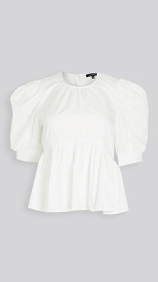 En Saison Poplin Puffed Sleeve Top