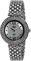 Burgi Women's BUR126SS Diamond & Crystal Accented Mother-of-Pearl Swiss Quartz Silver Bracelet Watch