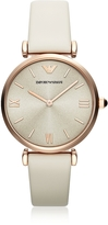 Emporio Armani T-Bar Rose Gold-tone Women's Watch w/Ivory Leather Band