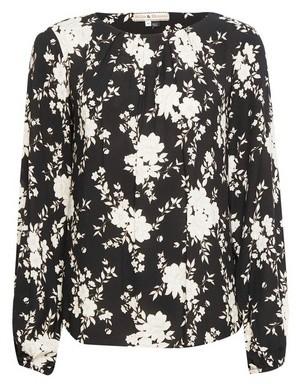 Dorothy Perkins Womens Billie & Blossom Black Floral Print Pleat Blouse, Black