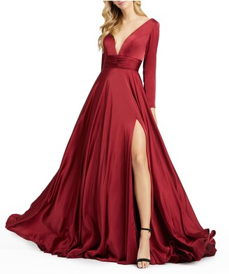 Mac Duggal Long Sleeve Satin A-Line Gown