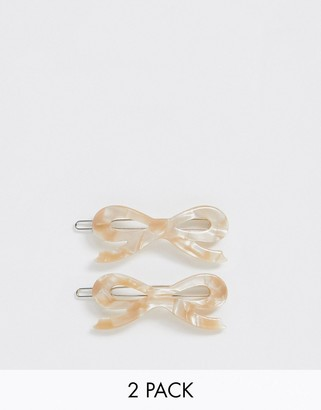 Margherita caramel resin bow hair clips - 2 pack