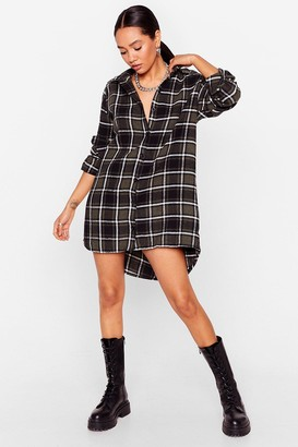 Nasty Gal Womens Lemme Get the Cheque Petite Shirt Dress - Green - 4, Green