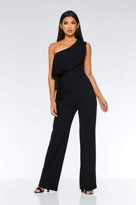 Quiz Black One Shoulder Frill Palazzo Jumpsuit