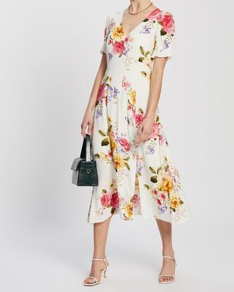 Dorothy Perkins V-Neck Puff Sleeve Midi Dress
