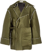 J.W.Anderson Quilted Silk-satin Coat - Army green