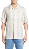 Tommy Bahama 'Sur Mer' Original Fit Plaid Linen Camp Shirt