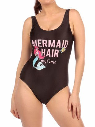 Disney Womens The Little Mermaid Swimsuit Black X-Large