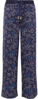 Paloma Blue - Galaxy Printed Washed Silk-satin Straight-leg Pants - Navy