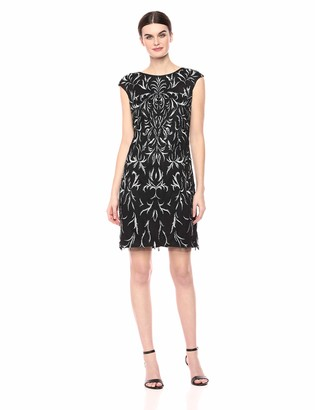 Pisarro Nights Women's Short Dress with Embroidered and Beaded Motif
