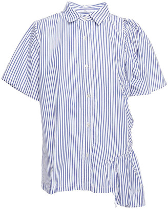Clu Gathered Striped Cotton-poplin Shirt